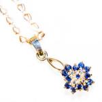 pendant with sapphires macro